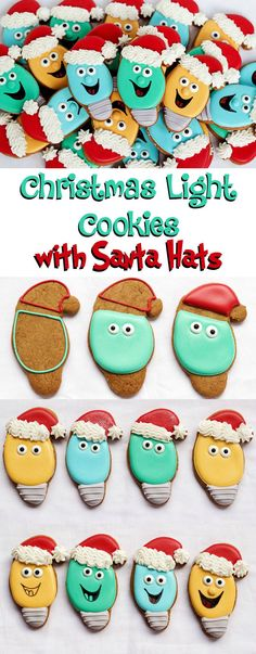 Christmas Light Cookies with a Santa Hat via www.thebearfootbaker.com
