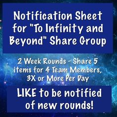 Notification Sheet - New Groups Always Forming Choose 3 items from group members closets, like them & share 3 different times of day blasting each item 3 times. Can sign up for games or no games and straight group member shares. You will be sharing 18 items each round per day with games and 12 items without games. Notify team of your 2 days off & they will still share for you. If more time needed, let team know not to share for you. When a group member's item sells, unlike it & like another…