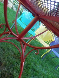 Painted iron patio furniture, multi colors