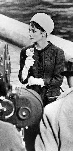 Even celebrities scream for ice cream: Audrey Hepburn in Charade, 1963.