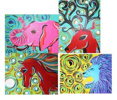 Custom Animal Painting with Swirls Acrylic by ToniTiger415 on Etsy