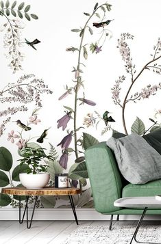 If you want a floral wallpaper that is beyond pretty, then choose this gorgeous Hummingbirds Hedge wallpaper! The tiny hummingbirds fluttering across the wall are adorable and the delicate tones of green and pink are utterly soothing and relaxing.Discover more from Wallsauce! #wallpaper #homedecor #livingroominspo Where to buy floral wallpaper.