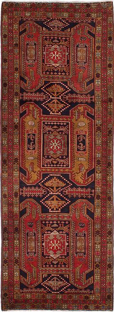 Hand-knotted Ardabil Black, Red Wool Rug