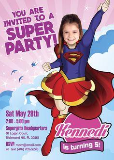 Turn your girl into a strong and beautiful Supergirl. Supergirl Invitation. American Superhero. #Supergirl #supergirlinvitation #supergirlideas #supergirlbirthday #supergirlbirthdayideas #supergirlcostume #dccomics #LeagueOfJustice #SuperheroDay #DC #americansuperhero #myheroathome