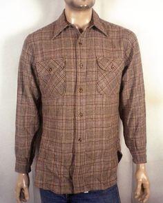 vtg 60s 70s Pendleton brown 100% Wool Flannel Plaid Button Down Shirt sz M