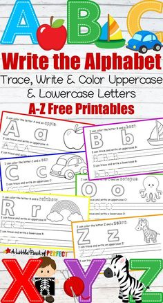 Learning to write the alphabet takes children lots of practice which is why you can never have too many letter pages. This free printable set is easy to pr Preschool Letters, Free Preschool, Preschool Printables, Preschool Learning, Free Printables, Baby Learning, Learning Activities, Teaching Resources, Learning To Write