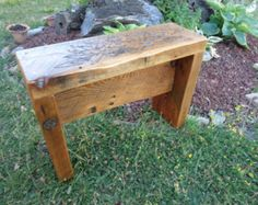 Reclaimed Barn wood Trestle style Bench with by LotusWoodcrafts