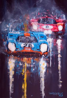 Porsche 917 & Ferrari by Klaus Wagger The Effective Pictures We Offer You About mixed Racing Ta Porsche Autos, Porsche Cars, Auto Poster, Car Posters, Auto Illustration, Racing Tattoos, Automotive Art, Automotive Group, Car Drawings