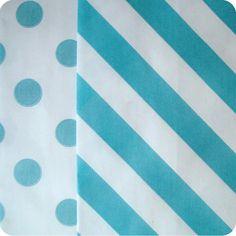 20 Blue Bag Duo Blue Stripe Blue Dot by SweetKaity on Etsy