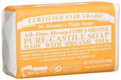 Dr. Bronner's Magic Soaps Pure-Castile Soap, All-One Hemp Citrus Orange, 5-Ounce Bars (Pack of 6) by Dr. Bronner's Magic Soaps. $25.99. Wrapped in 10% hemp-flax / 90% post-consumer recycled paper from living tree paper co. Lemon essential oil being a citrus oil is stimulating for the skin and peps up the spirit. Made with Organic Oils! Oregon Tilth Certified Organic. 100% Cruelty-free soap. Not animal tested.