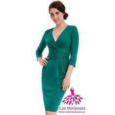 💚Lara Midi κρουαζέ σμαραγδί φόρεμα💚 Emerald Green Dresses, Wrap Dress, Fashion, Moda, Fashion Styles, Wrap Around Dress, Fasion, Emerald Dresses