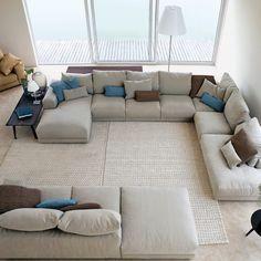 Sofa Bed Design, Living Room Sofa Design, Living Room Interior, Home Interior Design, Living Room Furniture, Living Room Designs, Corner Sofa Living Room, Big Living Rooms, Home Living Room