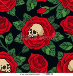 Gothic floral pattern. Vector seamless pattern with skulls and red roses. Isolated on dark background.