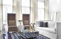 Bradley Hughes Living Room using bold graphics, drapery tape trim and a pillow applique