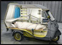 "Piaggio APE 50, the ""Bufalino"" and it's a one-person camper using the APE 50 as its platform. Designer: Cornelius Comanns"