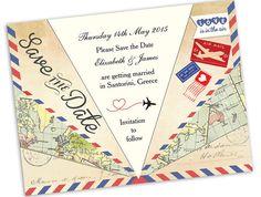 DIY Printable Vintage Airmail Save the Date by HipHipHoorayStudio