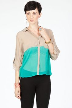 Pastel colorblock blouse  Turquoise+taupe=awesome colorblock combo. Plus, for only $13.50, this blouse is a great deal! I love the teal/turquoise tone, and the button-down style is so chic when worn with leggings or skinny jeans and flats or boots!