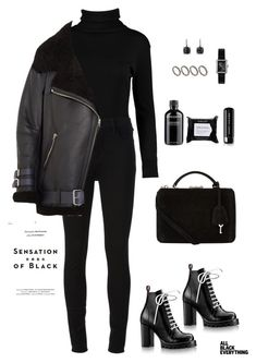 """All Black"" by loveberniie ❤ liked on Polyvore featuring Boohoo, J Brand, Acne Studios, ASOS, David Yurman, Mark Cross, Chanel, Inglot, Grown Alchemist and Marc Jacobs"