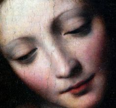 """The Virgin Holding the Sleeping Child, w/ St. John & Two Angels"" (detail) 1st Half, 16th Century -- Bernardino Luini (1481-1532) -- Italian -- Oil On Canvas -- Musée du Louvre, Paris"