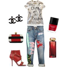 Outfit Of The Day by ivka-x on Polyvore featuring polyvore, fashion, style, Chanel, MARC BY MARC JACOBS, Moschino, Alexander McQueen, Elizabeth Arden and Butter London