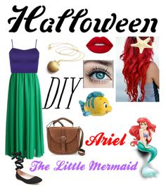 """//Halloween DIY: Ariel~ The Little Mermaid//"" by blissfull-darkness on Polyvore featuring Chicwish, WearAll, Steve Madden, Lime Crime, Disney, IMoshion, halloweencostume and DIYHalloween"