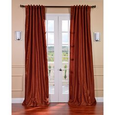 @Overstock - Burnt orange in color, this silk 108-inch curtain panel is heavy enough to block out light with a vintage feel for adding elegance to your patio doors. This panel is also capable of saving you money on your bills with its energy-saving design.http://www.overstock.com/Home-Garden/Burnt-Orange-Vintage-Faux-Dupioni-Silk-108-inch-Curtain-Panel/6710683/product.html?CID=214117 $69.99