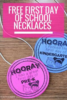 FREE First Day of School Necklaces (Editable) First day of school necklaces free printable FREE First Day of School Necklaces (Editable) First day of school necklaces free printable Kindergarten First Week, Preschool First Day, September Preschool, First Day Of School Activities, First Day School, Beginning Of The School Year, Preschool Classroom, Kindergarten Classroom, Classroom Ideas