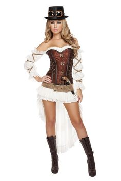Includes Top Hat, Goggles, Belt, Gun, Lace-Up Corset with Stud & Chain Detail, Off-Shoulder Blouse & Skirt.