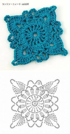 Crochet Coaster Pattern, Crochet Motif Patterns, Granny Square Crochet Pattern, Crochet Diagram, Crochet Squares, Crochet Granny, Crochet Designs, Crochet Stitches, Knitting Patterns
