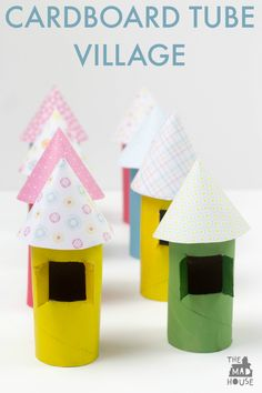 Cardboard tube craft - little houses made from toilet paper rolls! Such a cute upcycled craft.