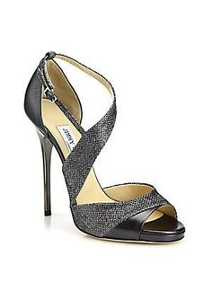 Jimmy Choo Tyne Asymmetrical Leather/Textile in Anthracite