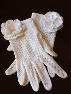 Upcycled French Crocheted Gloves with Hand-Crocheted Flowers/Pearl Centers, The Gatsby Gloves