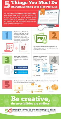 5 Things You Must Do BEFORE Sending Your Post Live for maximum resluts - infographic Internet Marketing, Online Marketing, Social Media Marketing, Content Marketing, Marketing Strategies, Inbound Marketing, Marketing Ideas, Marketing Tools, Des Articles
