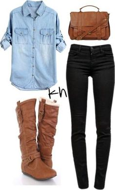 Brown boots, jean shirt and black pants by summer