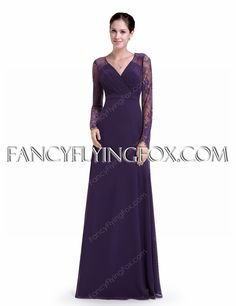 fancyflyingfox.com Offers High Quality Long Sleeves V-Neckline Full Length Purple Mother Of The Bride Dress With Lace ,Priced At Only US$169.00 (Free Shipping)