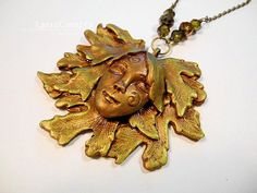 Goddess of the Oaks gold & green polymer clay jewelry pendant necklace handmade One of a Kind