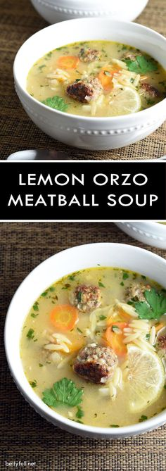 This Lemon Orzo Meatball soup is hearty from the pasta and meatballs, but with a light and lemony broth. Delicious on a cold and dreary day!