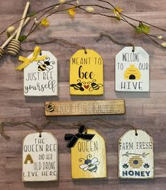 Bee tiered tray decor bundle Spring Tier tray decor Honey bee sign Queen Bee Tiered tray spring decor Bee decor for home Wood Tags, Bee Art, Bee Theme, Tier Tray, Bee Happy, Bees Knees, Tray Decor, Queen Bees, Summer Crafts