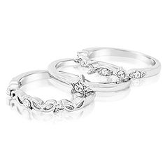a95a5a6fd Fappac Rhodium Plated Crystals Set of 3 Stacking Ring Enriched with  Swarovski Crystals 7 --