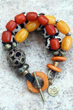 Safari II: Exotic Amber Yellow, African Brass and Giraffe Print Beaded Bracelet