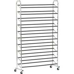 Rolling Shoe Rack in Closet | Crate and Barrel  I know some people that could use this