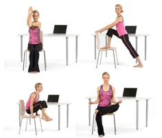 8 Poses For Yoga at Your Desk - (Restorative Pose is my favorite... who knew I already knew that one.. I just called it a desk nap!)