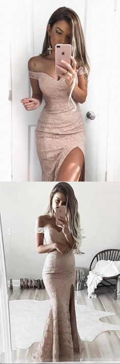 Mermaid Off Shoulder Sleeves Blush Lace Slit Dress. Beautiful!! https://bellanblue.com