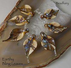 Earthy Bling Leaves 7 handmade glass beads leaves  by Beadfairy