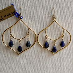 Lapis & Gold Lotus Petal Earrings Bohemian Gypsy by IndiraBoheme, $48.00
