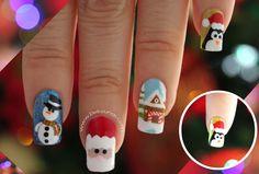 Deko Uñas by Diana Diaz Holiday Nail Art, Christmas Nail Designs, Christmas Nail Art, Sns Nails, Stiletto Nails, Manicure, Stylish Nails, Beautiful Christmas, Pretty Nails