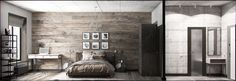 wood and concrete bedroom design