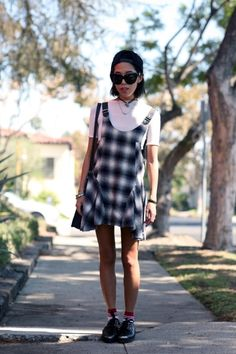 Plaid Dress, White Tee, and Oversized Sunglasses