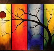 Four Season Tree Painting, Yellow Red Blue Green Canvas Tree Art, Modern Abstract Large Canvas Wall Art Deco Fine Art by Studio Mojo Artwork Sunrise Painting, Landscape Wall Art, Abstract Tree Painting, Watercolor Illustration Artworks, Painting, Simple Acrylic Paintings, Seascape Paintings, Night Sky Painting, Sunset Painting Easy