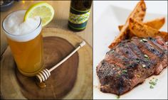 Saison Cocktail & Grilled Flank Steak: A Saison (Farmhouse Ale) and a shot of bourbon. This bold beer cocktail with a fruity and earthy Farmhouse ale is a cocktail sure to stand up to our Flank steak that's marinated in a tangy A-1 sauce. Take the pressure off Dad and treat him to this perfect Father's day combo.